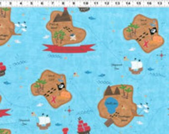 SALE Jamie Wood, Shiver Me Timbers, Pirate Map Aqua Fabric - Half Yard