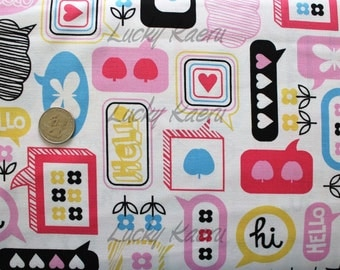 SALE/CLEARANCE Erin McMorris, Moxie, Chatterbox, Black Fabric - By the Yard