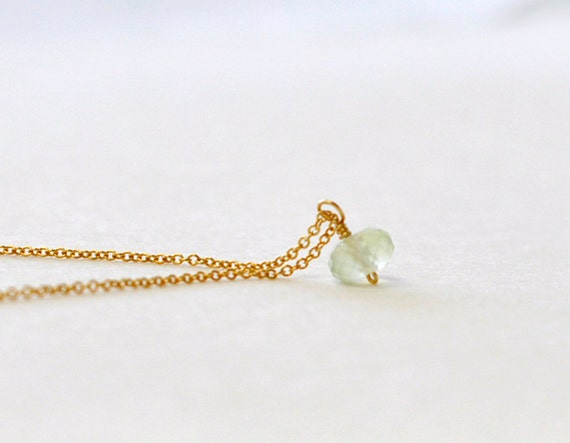 Bijou- small seafoam chalcedony stone gold filled necklace - simple delicate jewelry