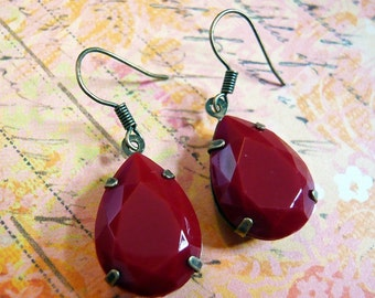 Crimson Red Gem Earrings
