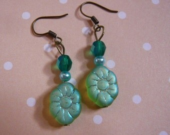 Frosty Green Flower Earrings
