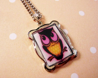 Pink Owl Pendant Necklace
