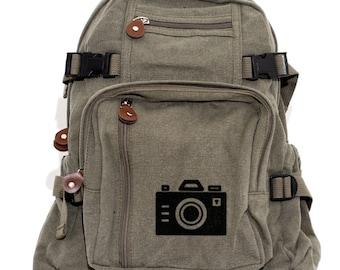 Camera Backpack Bag, Canvas Backpack Rucksack, Iconic Camera, Travel, Small Weekender Bag, Gift for Women, Gift for Men, Traveler