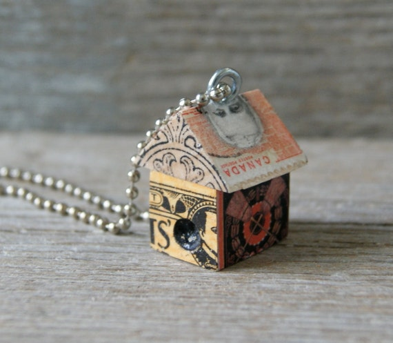Funky Little Haunted House Birdhouse Charm Pendant - The usual suspects - Art By Heather - Ready to Ship