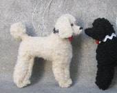 1 Black or Cream Poodle Ornament