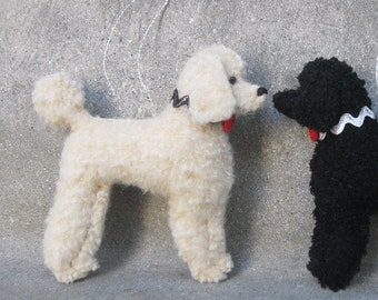 1 Black or Cream or Brown Poodle Ornament