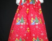 Winnie the Pooh Christmas Holiday pillowcase style dress sizes 0 infant to 10 girls