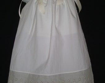 Antique white-ivory pillowcase dress with eyelet trim sizes 0 infant to 12 girls