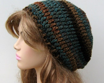 Slouchy beanie Teal Woods/ small Tam Dread Hippie Slouchy Crochet Beanie Hat/slouchy beanie hat, slouchy hat, winter beanie hat, winter hat