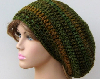Ozark Forest Slouchy Hat, small Tam Dread Hippie Slouchy Crochet Beanie Hat, slouchy beanie, green brown slouchy beanie, crochet beanie hat