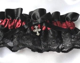 Black Lace- Satin with Burgundy-Cross Wedding Garter- Goth-Steampunk-Vampire