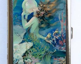 Mermaid holding a Pearl Cigarette Case Wallet Business Card Holder art nouveau deco victorian DIY