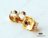 14K Yellow Gold Ear Nuts Solid Real Gold Backing Replacement 14KG04- 2 pcs