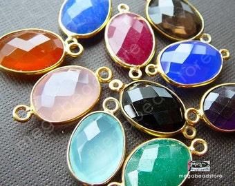 20mm (stone 14 x 10mm) Bezel Gold Gemstone Pendant Connector F393- 10 pcs (Choose Your Color)
