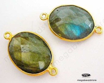 18mm x 14mm Oval Gold Bezel Gemstone Connector Labradorite (natural) 2 loops F393- 1 pc