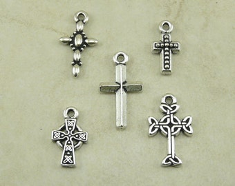 5 TierraCast Small Cross Charms Mix Pack > Christian Catholic Celtic Gothic - Silver Plated Lead Free Pewter - I ship Internationally a2