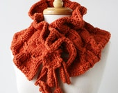 Fall Winter Women Fashion - Fiber Art Scarf - Luxurious Merino Wool Knit Scarflette - Persimmon Orange - TickledPinkKnits
