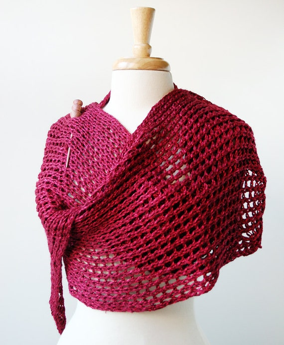RESERVED - SAMPLE SALE Women Fashion Accessories - Knit Wrap - Linen Blend Knit Shawl Scarf - Raspberry Red