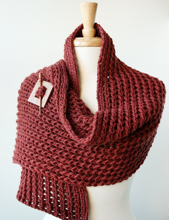 Winter Knit Scarf - Merino Wool Knit Shawl Wrap - Russet Brown - Women Fashion Accessories