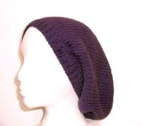 Beanie Slouch Beret Knitted hat Purple Wool size large    4410