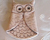 Owl Brown Polymer Clay Pin Magnet Ornament