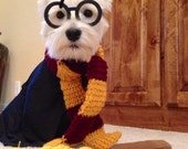 Harry Potter Gryffindor House inspired crocheted yarn wizard dog Scarf