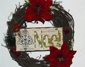 Small Grapevine Noel Christmas Wreath Poinsettias and Berries Wreath