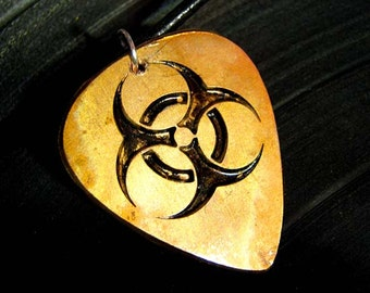 Biohazard, Engraved Copper Guitar Pick Necklace