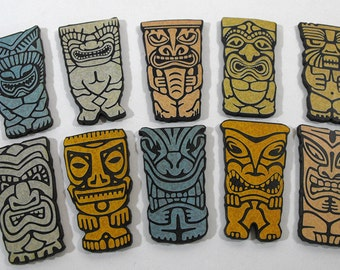 Wooden Tiki Art Parts - Collection of 10 Laser Cut Tiki Pieces