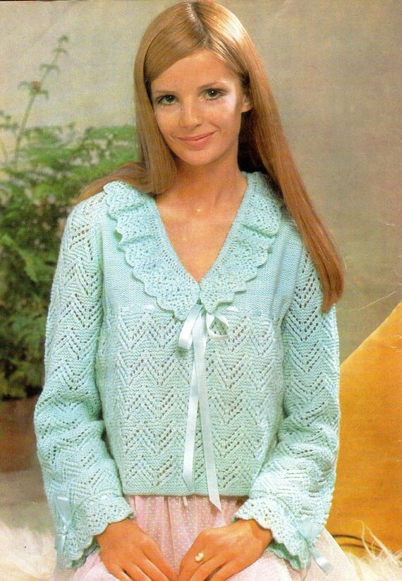 Items similar to Bed Jacket Vintage Knitting Pattern Pdf Frilly and Feminine ...