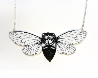 Cicada insect and silver chain necklace