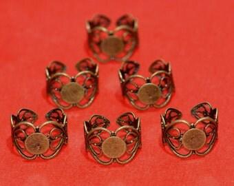 6pcs Antique Bronze Adjustable Ring Shanks-5399A