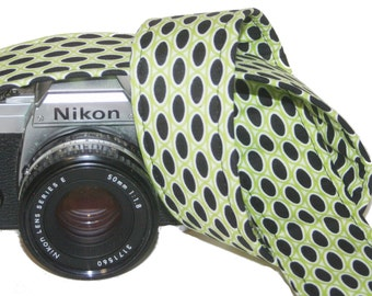Camera Strap - Licorice Dots on Lime  - SLR, DSLR