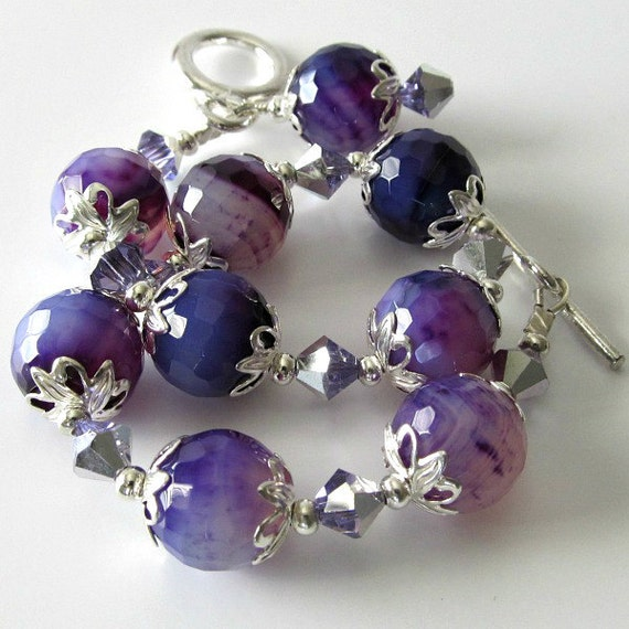 Purple gemstone bracelet, cracked agate, silver bracelet, beaded jewelry, crystal bracelet