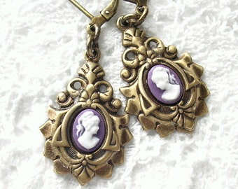 Lavender and White Cameo Earrings - Victorian Style Antiqued Brass