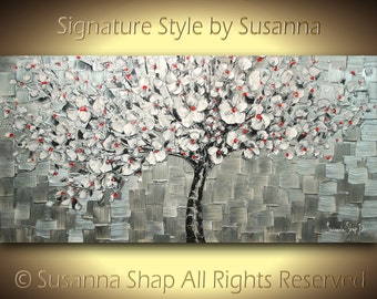 ORIGINAL Abstract Tree Painting Silver White Cherry Blossom Palette Knife Thick Texture by Susanna Ready to Hang 48x24