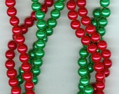8mm Christmas Red and Green Glass Pearl Round Beads Set of 2