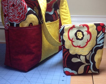 Six pocket tote bag with zippered pouch included red mustard yellow turquoise