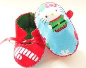 Baby Girl Shoes Baby Girl Booties Baby Shoes Baby Boots Christmas Baby Shower Baby Girl Gift with Hello Kitty Candy Cane Christmas ECO Baby