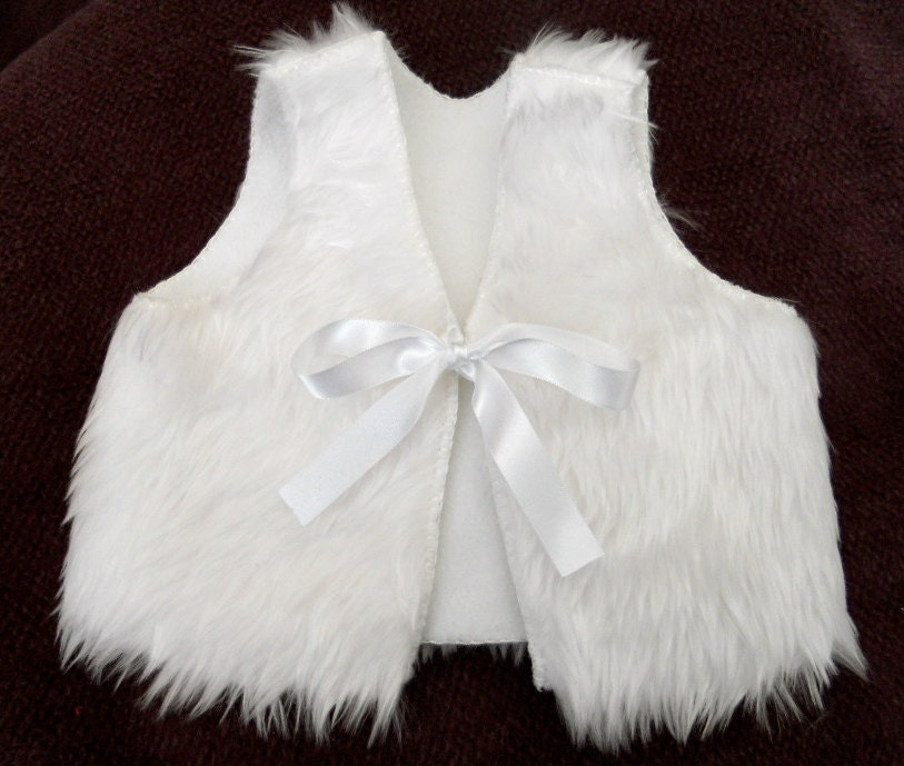 Snow White Faux Fur Baby Vest Christening Baptism By