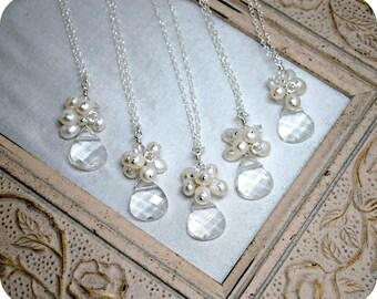 5 sets of Bridesmaids Necklaces, Five Bridal Necklaces, Beach Theme Wedding, Bridal Party, Cluster Pendant, Bridesmaids Jewelry