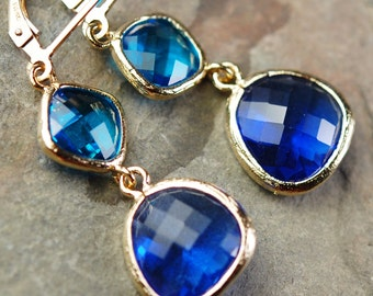 Aqua Capri Blue and Cobalt Glass Earrings, Faceted Components, 14K Gold Fill Leverbacks, Bridesmaid Gift