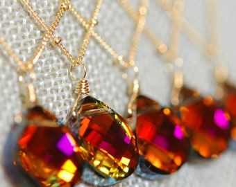Set of 5 Orange Pink Bridesmaid Necklaces, Volcano Swarovski Crystal Briolette, 14K Gold Fill, Tropical Sunset