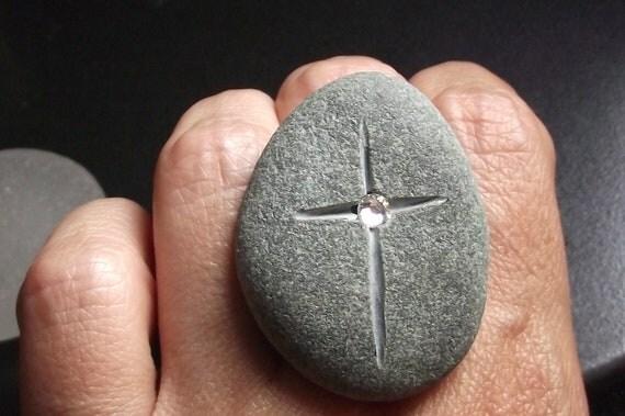 Beach Stone Jewelry - Adjustable ENGRAVED Ring With Swarovski Crystal - FAITH