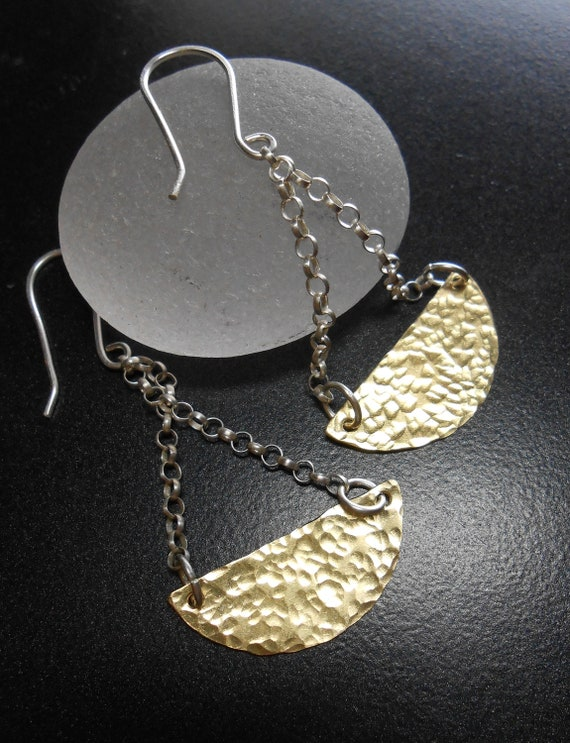 Mixed Metal Jewelry - Half Moon Earrings - SWING SWING