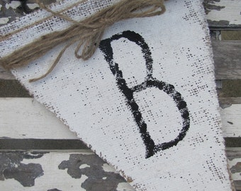 BELIEVE painted Burlap Banner Bunting Pennant
