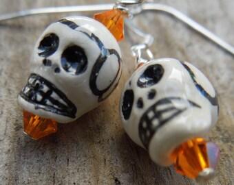 Orange sugar skull earrings