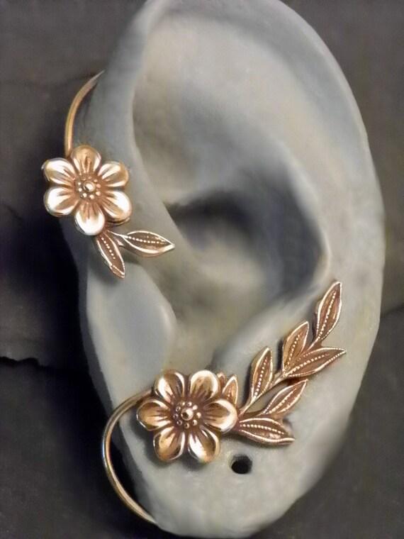 Flower and Leaf Ear Wrap GOLDEN GARDEN Brass Ear Cuff
