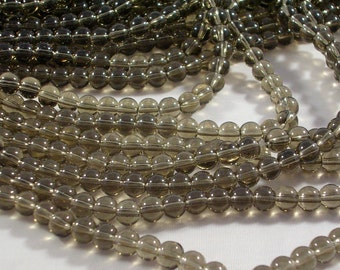 "Glass Beads CLOSEOUT SALE (GB124A) FIVE 11"" Strands about 250 beads 6mm Smokey Grey Round Glass Beads for Jewelry Making and Crafts"