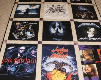 Rock Band t-shirt quilt custom made for Sveltana